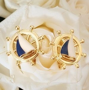 Vintage | Gold Tone Nautical Clip On Earrings
